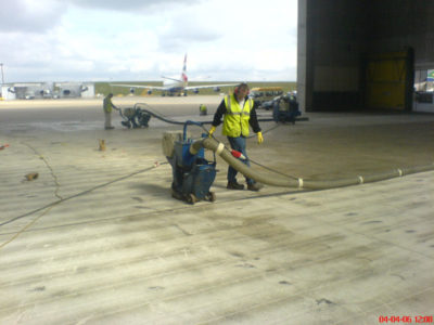 Heathrow hanger floor preparation