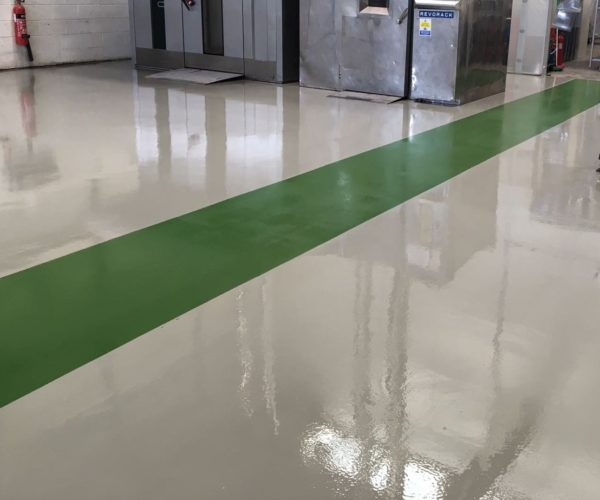 grey and green epoxy flooring