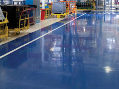 resin floor production site
