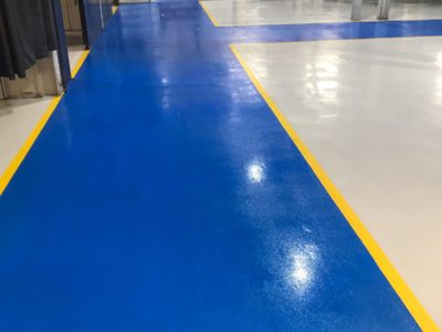 blue walkways grey flooring