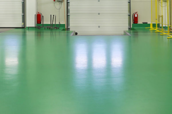 Loading bay green resin floor